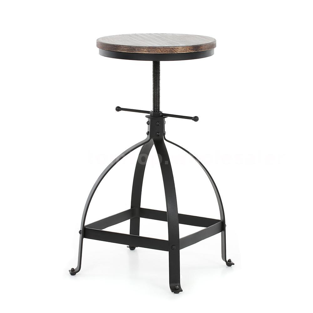 4x Wooden Adjustable Height Swivel Kitchen Dining Breakfast Chair Barstool F4